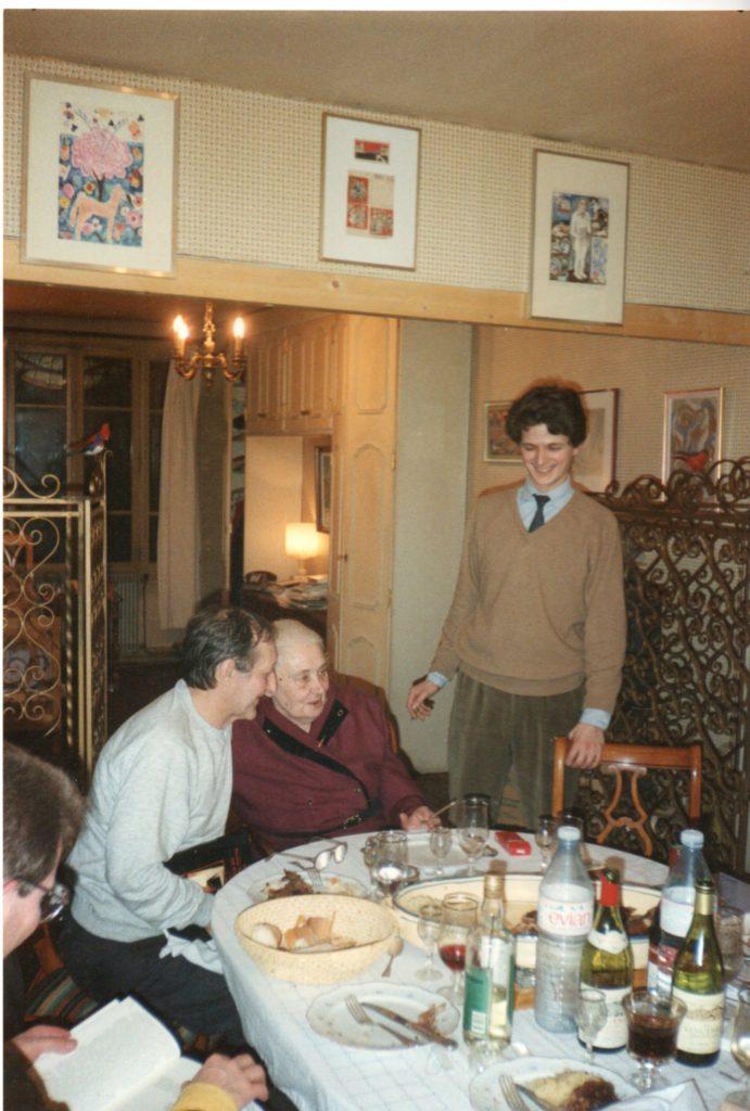 S. Dédiouline, Kovtoune, Valentine Marcadé, Alexis Tiesenhausen, Paris, 36 rue Saint-Sulpice, février 1989 (photo Jean-Claude Marcadé)