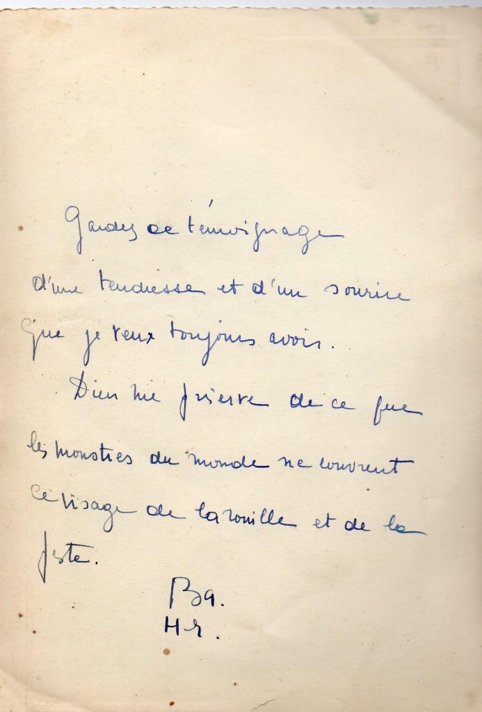 dédicace à Valentine Marcadé, fin des années 1950