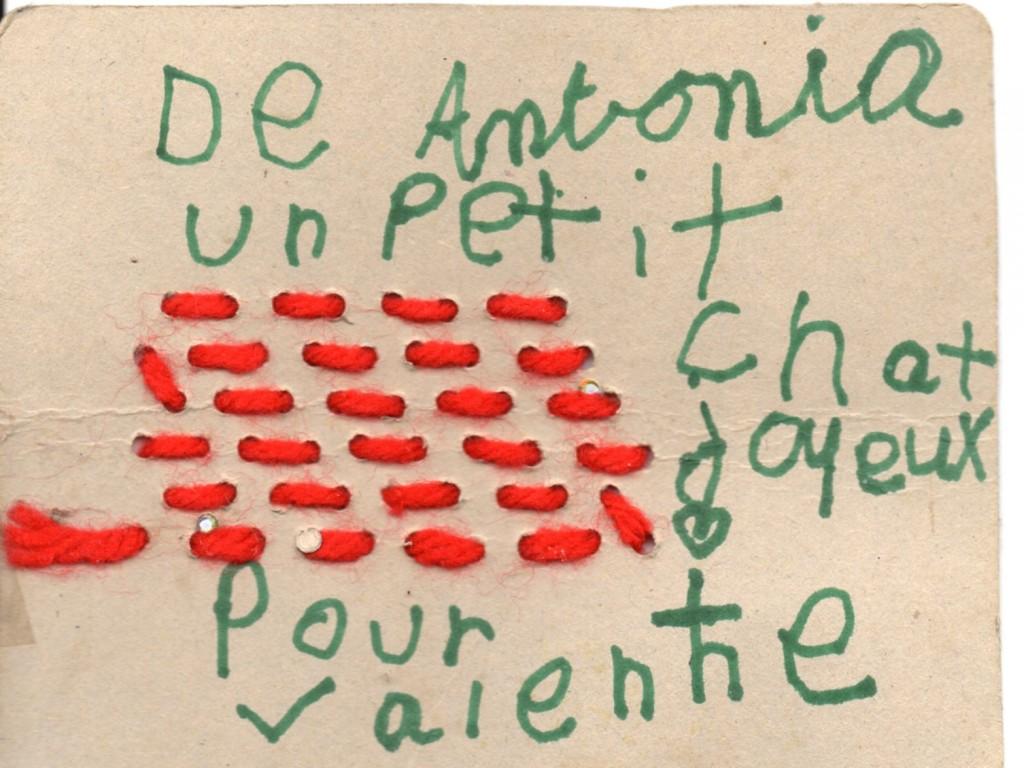 Texte de la carte d'Antonia Dessart-Buchmann pour Valentine Marcadé