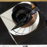 Antoine PEVSNER,Projection dans l'espace- Circa 1935-1936  (Haut-relief en cuivre et bronze oxydés, matière plastique noire)